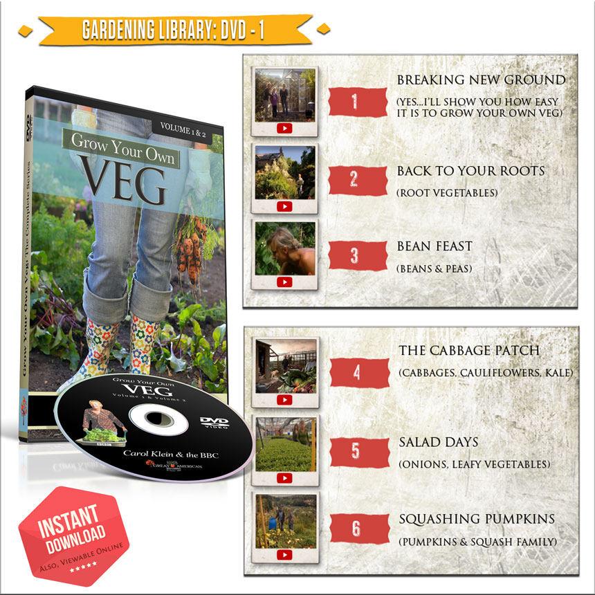 Heirloom Emergency Survival High Protein Pack: Garden Library DVD-1: Grow Your Own Veg by Carol Klein and the BBC